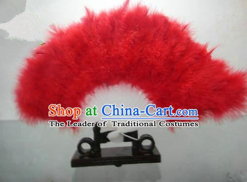 Traditional Chinese Folk Dance Fan, Chinese Classical Dance Red Feather Fans for Women