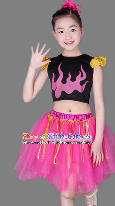 2971ed1ff Top Grade Chinese Compere Performance Costume, Children Jazz Dance Dress  Modern Dance Pink Bubble Skirts for Girls Kids