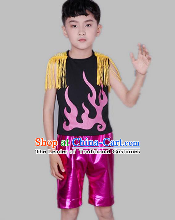Top Grade Chinese Compere Performance Costume, Children Jazz Dance Modern Dance Clothing for Boys Kids