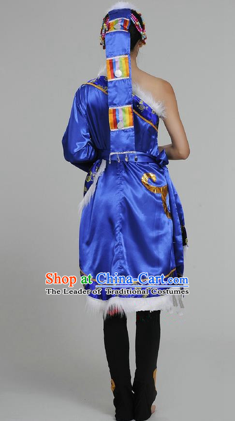 Traditional Chinese Zang Nationality Dancing Costume, Tibetan Female Folk Dance Dress, Chinese Tibetan Minority Nationality Blue Clothing for Women