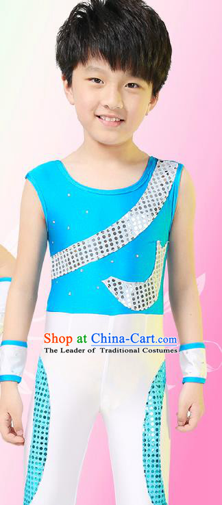 Chinese Modern Dance Costume, Children Opening Classic Chorus Singing Group Uniforms, Modern Dance Blue Gym Suit for Boys Kids