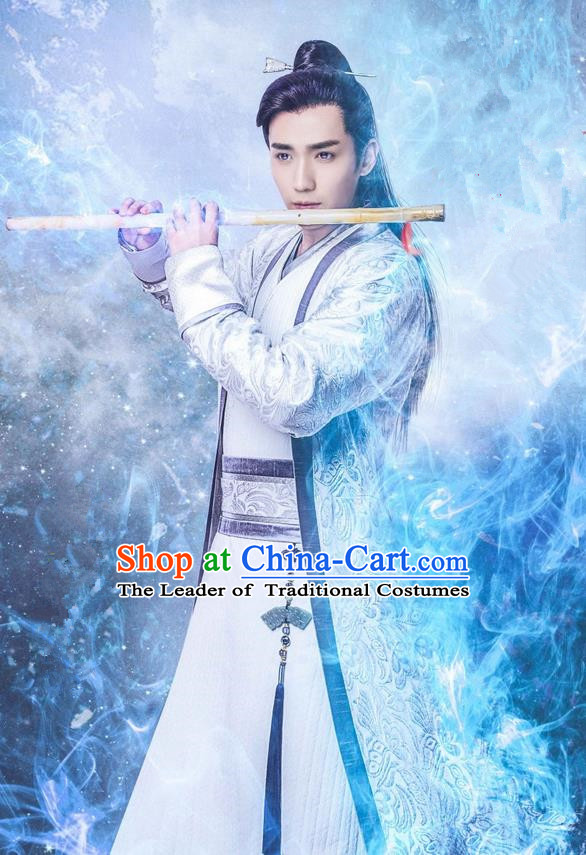 Traditional Chinese Song Dynasty Nobility Childe Costume and Handmade Headpiece Complete Set, China Ancient Prince Clothing for Men