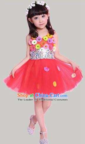 Traditional Chinese Modern Dance Compere Performance Costume, Children Opening Dance Chorus Flowers Dress, Classic Dance Red Bubble Dress for Girls Kids