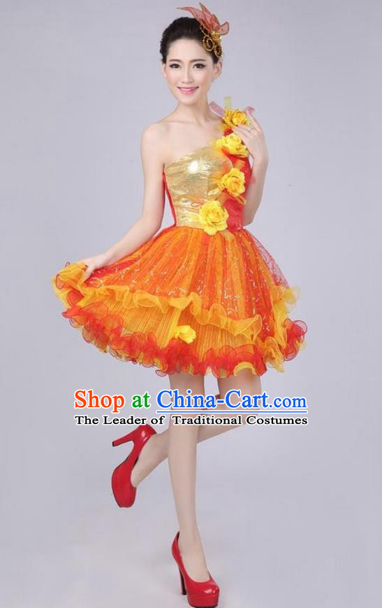 Chinese Compere Performance Costume, Opening Dance Chorus Dress, Modern Dance Classic Dance One-shoulder Yellow Flowers Bubble Dress for Women