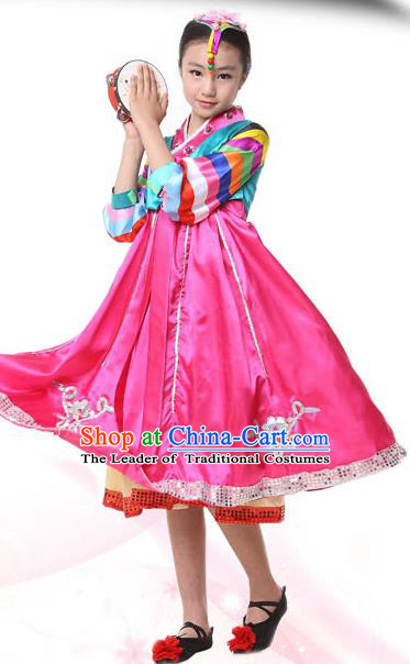 Traditional Korean Hanbok, China Korean Nationality Dance Pink Dress for Kids