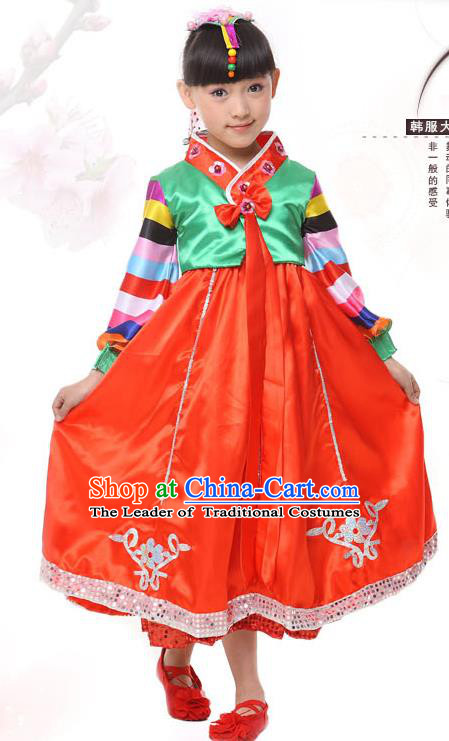 Traditional Korean Hanbok, China Korean Nationality Dance Red Dress for Kids