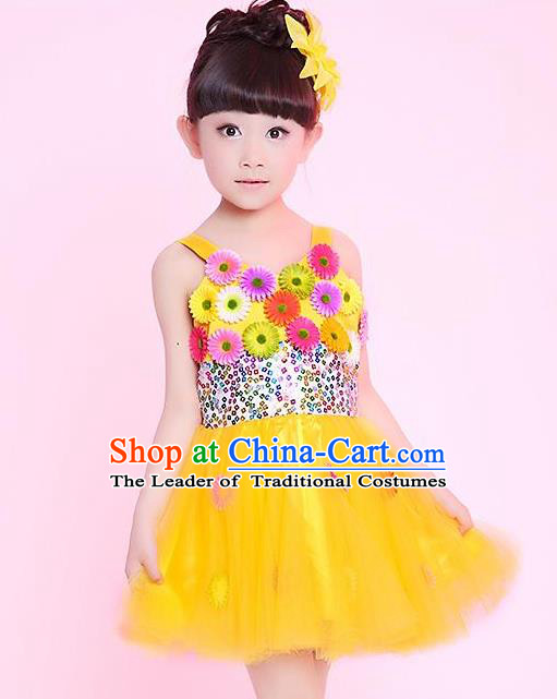 Traditional Chinese Modern Dance Compere Performance Costume, Children Opening Dance Chorus Flowers Dress, Classic Dance Yellow Bubble Dress for Girls Kids