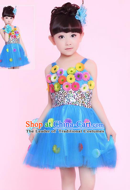 Traditional Chinese Modern Dance Compere Performance Costume, Children Opening Dance Chorus Flowers Dress, Classic Dance Blue Bubble Dress for Girls Kids