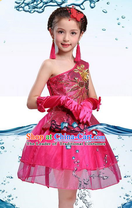 Traditional Chinese Modern Dance Compere Performance Costume, Children Opening Dance Chorus One-shoulder Dress, Classic Dance Pink Bubble Dress for Girls Kids