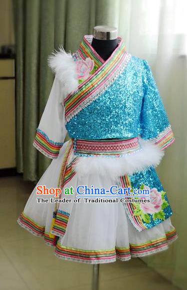 Traditional Chinese Zang Nationality Dancing Costume, Tibetan Children Folk Dance Ethnic Pleated Skirt, Chinese Tibetan Minority Blue Dress for Kids