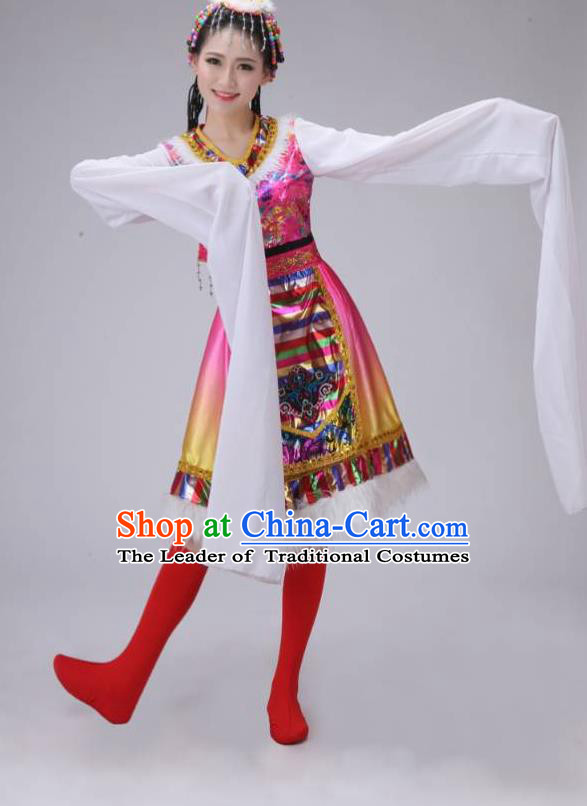 Traditional Chinese Zang Nationality Dancing Costume, Tibetan Female Folk Dance Ethnic Pleated Skirt, Chinese Tibetan Minority Pink Water Sleeve Dress for Women