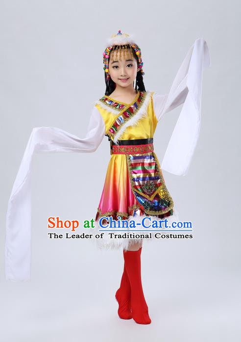 Traditional Chinese Zang Nationality Dancing Costume, Tibetan Children Folk Dance Ethnic Pleated Skirt, Chinese Tibetan Minority Water Sleeve Yellow Dress for Kids
