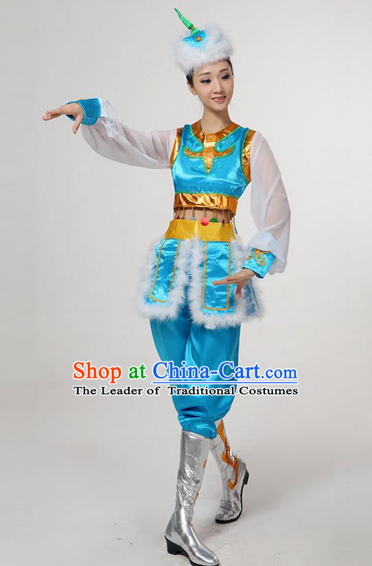 Traditional Chinese Mongol Nationality Dancing Costume, Mongols Female Folk Dance Ethnic Clothing, Chinese Mongolian Minority Nationality Blue Costume for Women