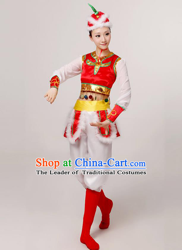 Traditional Chinese Mongol Nationality Dancing Costume, Mongols Female Folk Dance Ethnic Clothing, Chinese Mongolian Minority Nationality Red Costume for Women