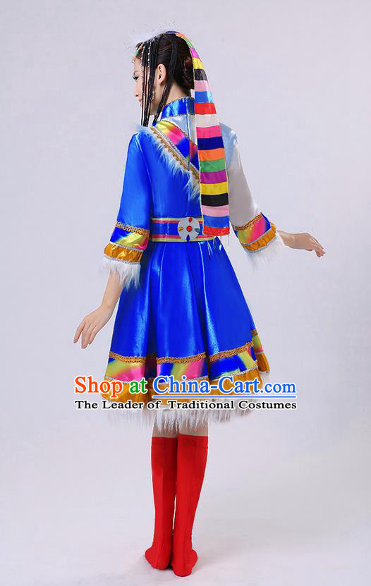 Traditional Chinese Zang Nationality Dancing Costume, Tibetan Female Folk Dance Ethnic Pleated Skirt, Chinese Tibetan Minority Blue Dress for Women