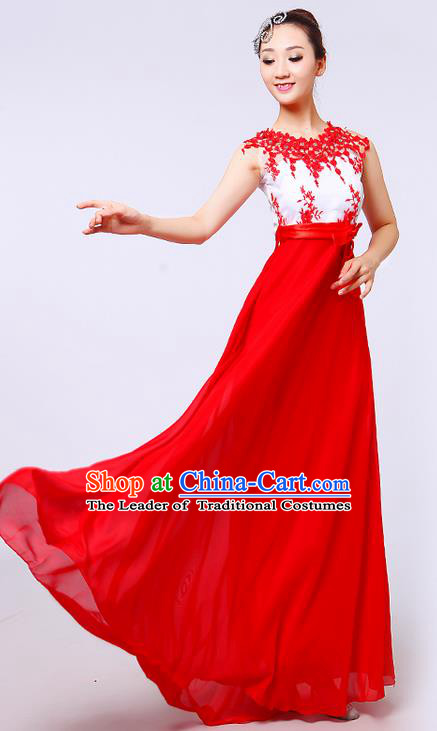 Top Grade Professional Compere Modern Dance Costume, Women Opening Dance Chorus Singing Group Uniforms Red Lace Long Dress for Women
