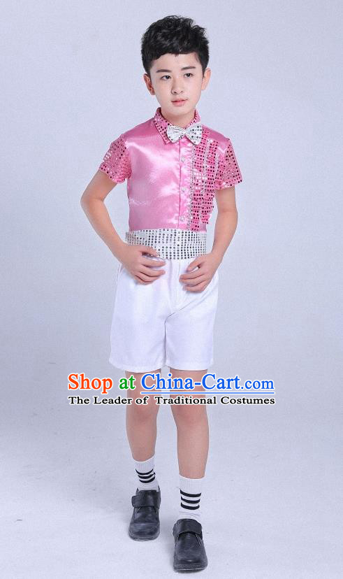 Top Grade Professional Performance Catwalks Costume, Children Chorus Modern Dance Pink Paillette Clothing for Boys Kids