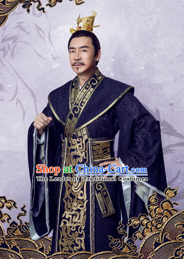 Traditional Chinese Song Dynasty Master Costume and Handmade Headpiece Complete Set, China Ancient Minister Nobility Lord Clothing for Men