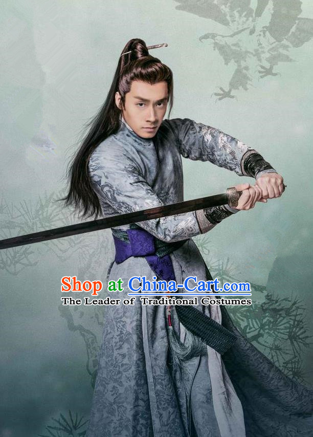 Traditional Chinese Song Dynasty Swordsman Dandies Costume and Handmade Headpiece Complete Set, China Ancient Chivalrous Expert Clothing for Men