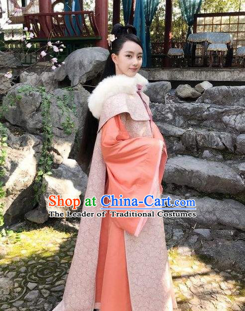 Traditional Chinese Ancient Song Dynasty Imperial Princess Costume and Headpiece Complete Set, Chinese Teleplay Flower Shabana Flyings Sky Senior Concubine Embroidered Dress for Women