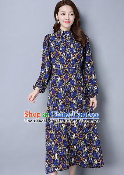 Traditional Ancient Chinese National Costume, Elegant Hanfu Mandarin Qipao Linen Puff Sleeve Blue Dress, China Tang Suit Chirpaur Republic of China Cheongsam Upper Outer Garment Elegant Dress Clothing for Women