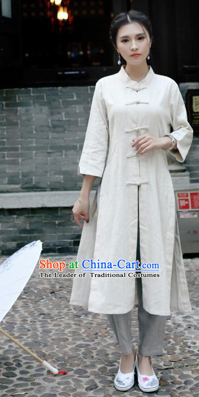 Traditional Ancient Chinese National Costume, Elegant Hanfu Stand Collar White Coat Robes, China Tang Suit Plated Buttons Cape, Upper Outer Garment Dust Coat Clothing for Women
