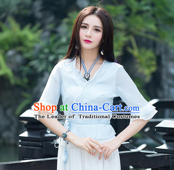Traditional Chinese National Costume, Elegant Hanfu Mandarin Sleeve Slant Opening Blue T-Shirt, China Tang Suit Republic of China Chirpaur Blouse Cheong-sam Upper Outer Garment Qipao Shirts Clothing for Women