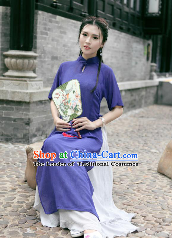 Traditional Ancient Chinese National Costume, Elegant Hanfu Mandarin Qipao Linen Double-deck Dress, China Tang Suit Stand Collar Chirpaur Republic of China Cheongsam Upper Outer Garment Elegant Dress Clothing for Women