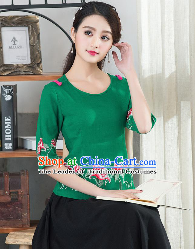 Traditional Chinese National Costume, Elegant Hanfu Embroidery Flowers Round Collar Green T-Shirt, China Tang Suit Republic of China Plated Buttons Chirpaur Blouse Cheong-sam Upper Outer Garment Qipao Shirts Clothing for Women