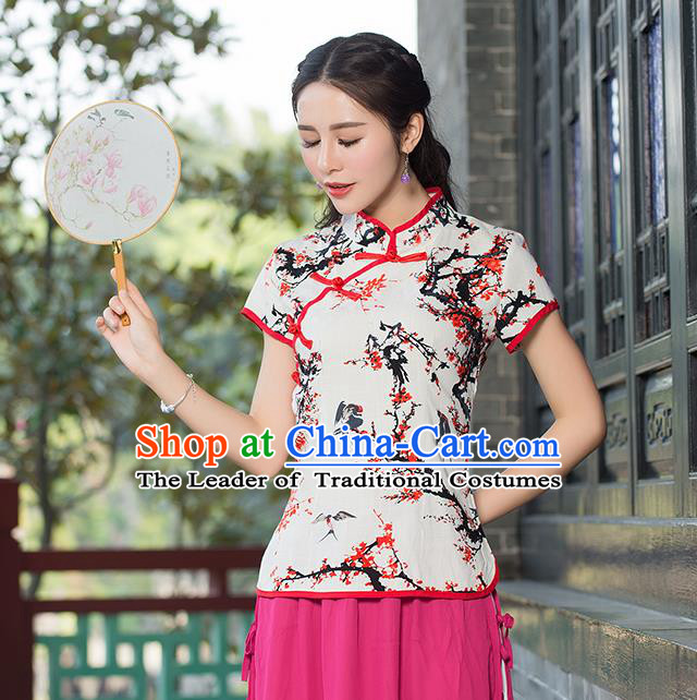 Traditional Chinese National Costume, Elegant Hanfu Ink Painting Slant Opening T-Shirt, China Tang Suit Republic of China Plated Buttons Chirpaur Stand Collar Blouse Cheong-sam Upper Outer Garment Qipao Shirts Clothing for Women