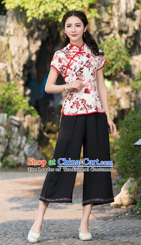 Traditional Chinese National Costume, Elegant Hanfu Ink Painting Slant Opening Red T-Shirt, China Tang Suit Republic of China Plated Buttons Chirpaur Stand Collar Blouse Cheong-sam Upper Outer Garment Qipao Shirts Clothing for Women