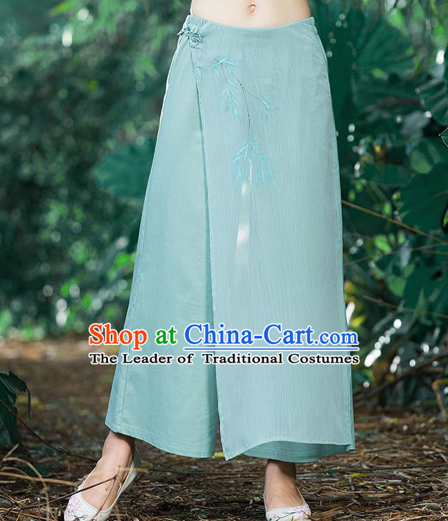 Traditional Chinese National Costume Loose Pants, Elegant Hanfu Hand Painting Bamboo leaves Chiffon Green Wide leg Pants, China Ethnic Minorities Tang Suit Ultra-wide-leg Trousers for Women