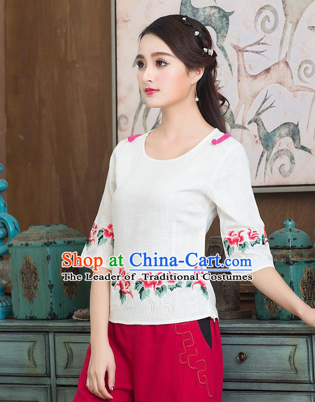 Traditional Chinese National Costume, Elegant Hanfu Embroidery Flowers Round Collar White T-Shirt, China Tang Suit Republic of China Plated Buttons Chirpaur Blouse Cheong-sam Upper Outer Garment Qipao Shirts Clothing for Women
