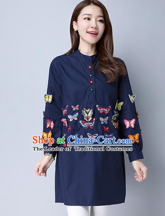 Traditional Chinese National Costume, Elegant Hanfu Patch Embroidery Butterfly Navy Shirt, China Tang Suit Republic of China Chirpaur Blouse Cheong-sam Upper Outer Garment Qipao Shirts Clothing for Women