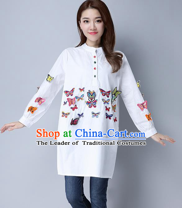 Traditional Chinese National Costume, Elegant Hanfu Patch Embroidery Butterfly White Shirt, China Tang Suit Republic of China Chirpaur Blouse Cheong-sam Upper Outer Garment Qipao Shirts Clothing for Women