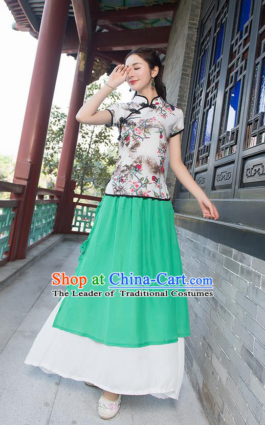 Traditional Ancient Chinese National Pleated Skirt Costume, Elegant Hanfu Chiffon Green Long Dress, China Tang Suit National Minority Bust Skirt for Women