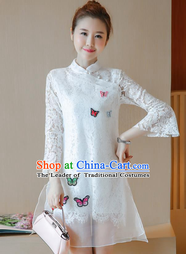 Traditional Ancient Chinese National Costume, Elegant Hanfu Mandarin Qipao Embroidered Butterflies White Lace Dress, China Tang Suit Chirpaur Republic of China Cheongsam Upper Outer Garment Elegant Dress Clothing for Women