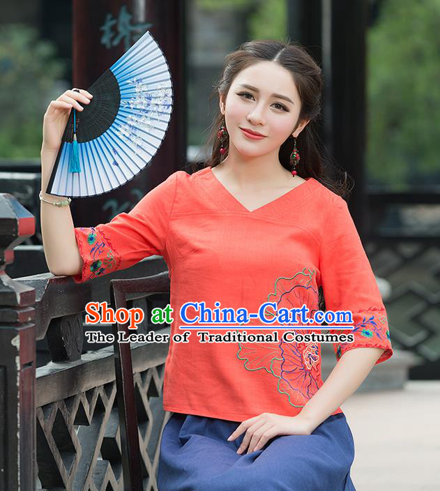 Traditional Chinese National Costume, Elegant Hanfu Embroidery Flowers Orange T-Shirt, China Tang Suit Republic of China Chirpaur Blouse Cheong-sam Upper Outer Garment Qipao Shirts Clothing for Women
