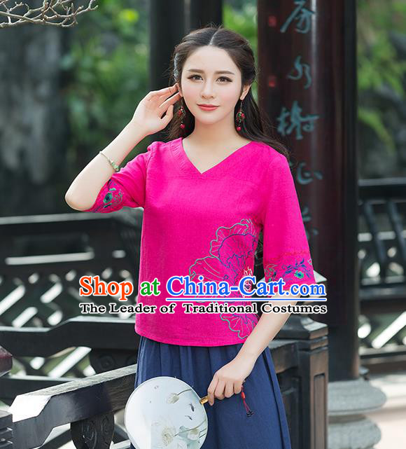 Traditional Chinese National Costume, Elegant Hanfu Embroidery Flowers Rose T-Shirt, China Tang Suit Republic of China Chirpaur Blouse Cheong-sam Upper Outer Garment Qipao Shirts Clothing for Women