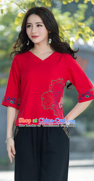 Traditional Chinese National Costume, Elegant Hanfu Embroidery Flowers Red T-Shirt, China Tang Suit Republic of China Chirpaur Blouse Cheong-sam Upper Outer Garment Qipao Shirts Clothing for Women