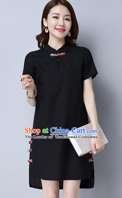 Traditional Ancient Chinese National Costume, Elegant Hanfu Mandarin Qipao Linen Black Dress, China Tang Suit Plated Buttons Chirpaur Republic of China Cheongsam Upper Outer Garment Elegant Dress Clothing for Women