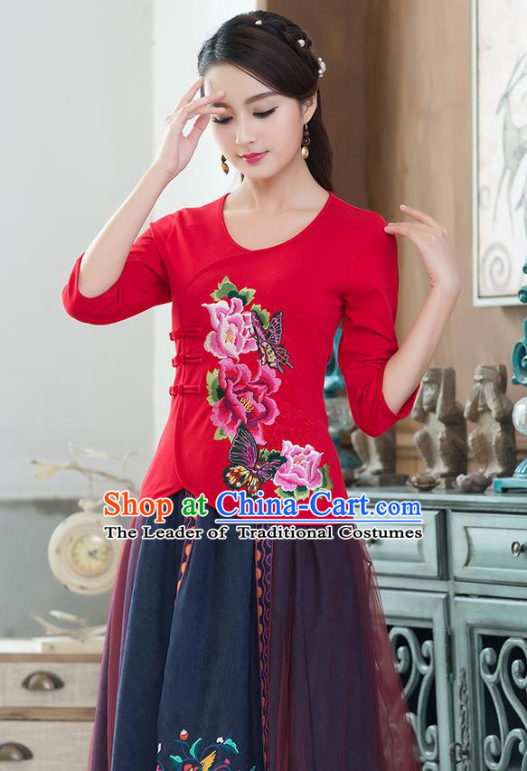 Traditional Chinese National Costume, Elegant Hanfu Embroidery Flowers Slant Opening Red Blouses, China Tang Suit Republic of China Plated Buttons Chirpaur Blouse Cheong-sam Upper Outer Garment Qipao Shirts Clothing for Women