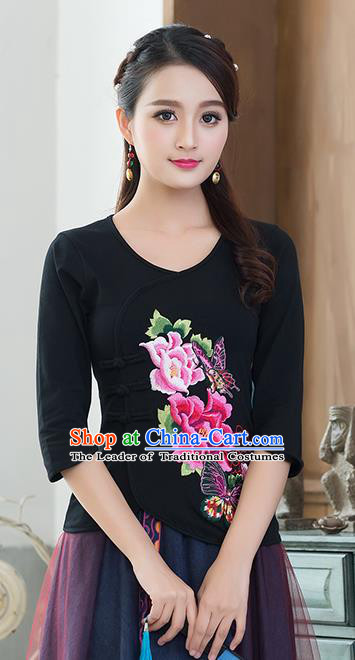 Traditional Chinese National Costume, Elegant Hanfu Embroidery Flowers Slant Opening Black Blouses, China Tang Suit Republic of China Plated Buttons Chirpaur Blouse Cheong-sam Upper Outer Garment Qipao Shirts Clothing for Women
