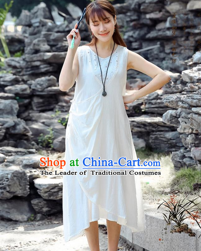 Traditional Ancient Chinese National Costume, Elegant Hanfu Qipao Linen White Dress, China Tang Suit Cheongsam Upper Outer Garment Elegant Dress Clothing for Women
