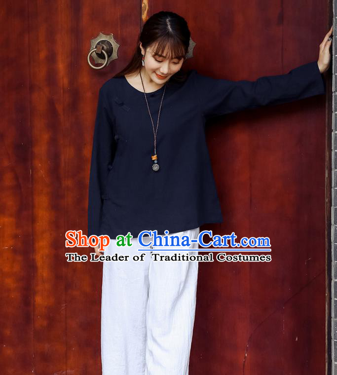 Traditional Chinese National Costume, Elegant Hanfu Linen Slant Opening Navy Shirt, China Tang Suit Republic of China Plated Buttons Chirpaur Blouse Cheong-sam Upper Outer Garment Qipao Shirts Clothing for Women