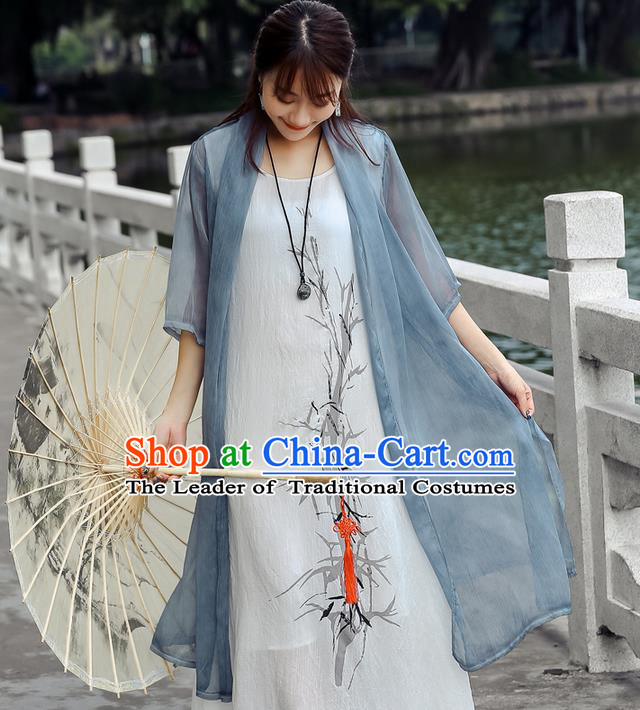 Traditional Ancient Chinese National Costume, Elegant Hanfu Chiffon Blue Cardigan Coat, China Tang Suit Plated Buttons Cape, Upper Outer Garment Dust Coat Cloak Clothing for Women