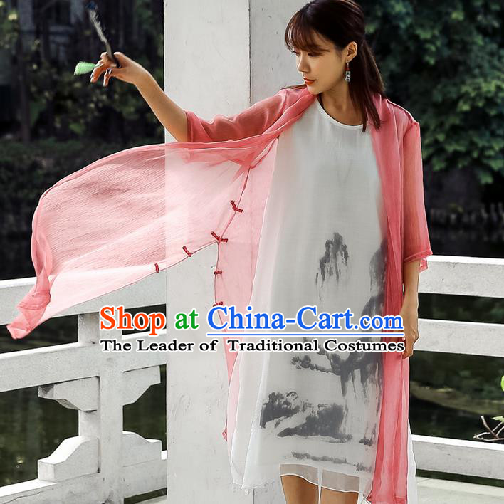 Traditional Ancient Chinese National Costume, Elegant Hanfu Chiffon Pink Cardigan Coat, China Tang Suit Plated Buttons Cape, Upper Outer Garment Dust Coat Cloak Clothing for Women