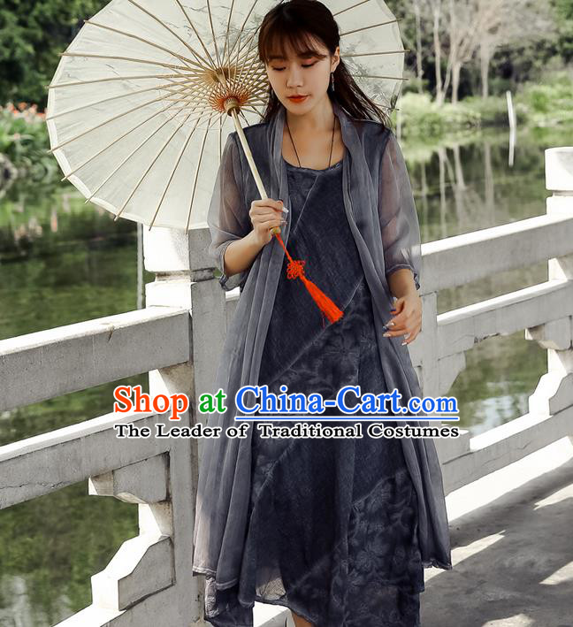 Traditional Ancient Chinese National Costume, Elegant Hanfu Chiffon Grey Cardigan Coat, China Tang Suit Plated Buttons Cape, Upper Outer Garment Dust Coat Cloak Clothing for Women