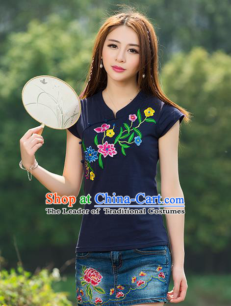 Traditional Chinese National Costume, Elegant Hanfu Embroidery Flowers Navy T-Shirt, China Tang Suit Republic of China Plated Buttons Chirpaur Blouse Cheong-sam Upper Outer Garment Qipao Shirts Clothing for Women