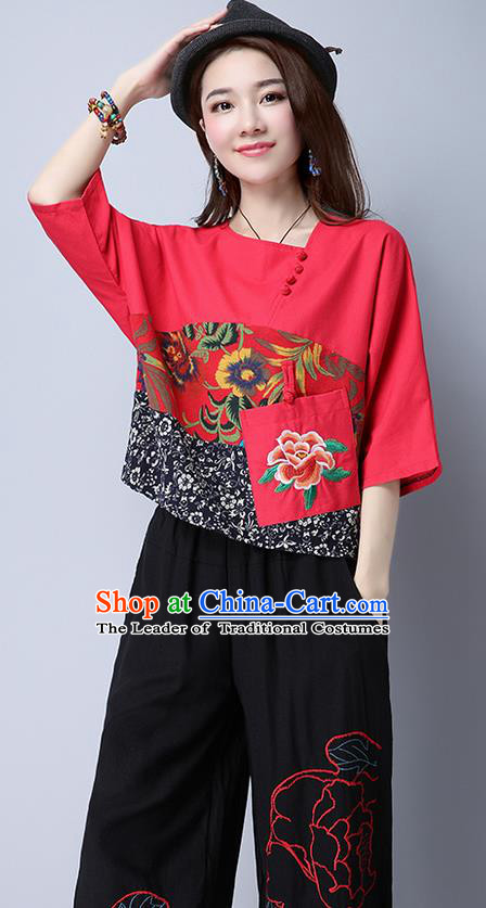 Traditional Chinese National Costume, Elegant Hanfu Patch Embroidery Flowers Red Blouse, China Tang Suit Republic of China Plated Buttons Chirpaur Blouse Cheong-sam Upper Outer Garment Qipao Shirts Clothing for Women